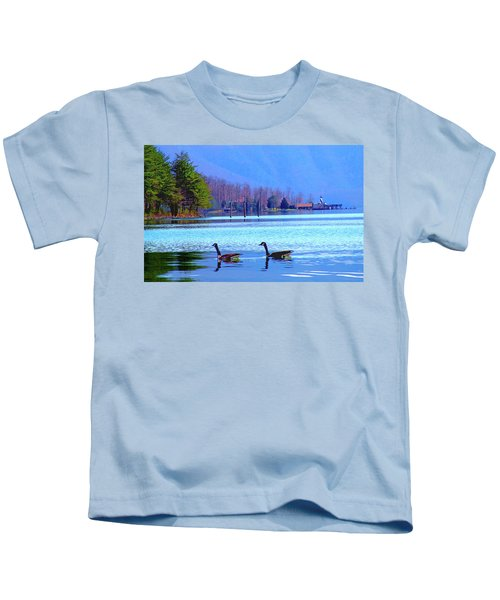 Lighthouse Geese, Smith Mountain Lake Kids T-Shirt