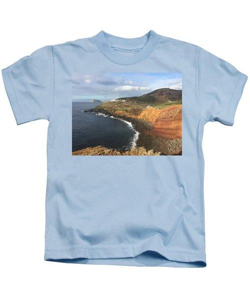 Lighthouse On The Coast Of Terceira Kids T-Shirt