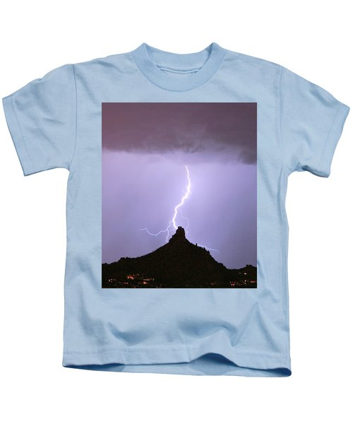 Lightning Striking Pinnacle Peak Scottsdale Az Kids T-Shirt
