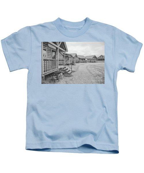 Log Cabins Black And White Charcoal Kids T-Shirt