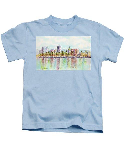 Long Beach Coastline Reflections Kids T-Shirt