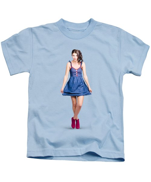 Lovable Eighties Female Pin-up In Denim Dress Kids T-Shirt