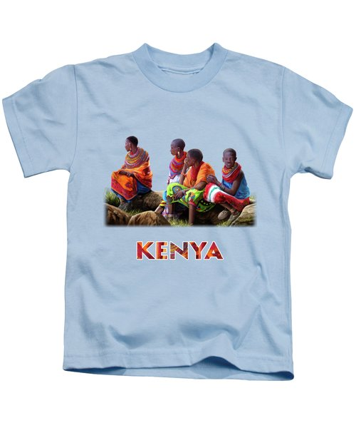 Maasai Women Kids T-Shirt by Anthony Mwangi