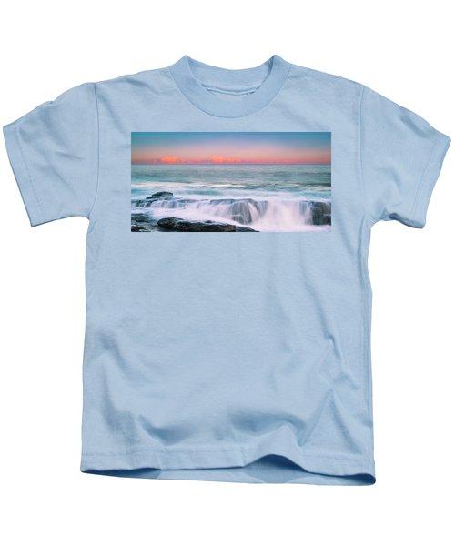 Maine Rocky Coastal Sunset Panorama Kids T-Shirt