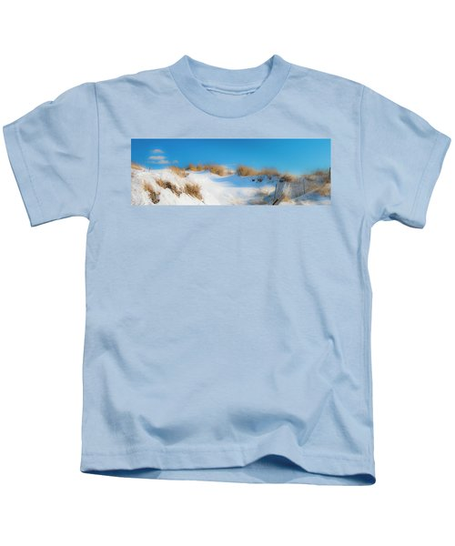 Maine Snow Dunes On Coast In Winter Panorama Kids T-Shirt