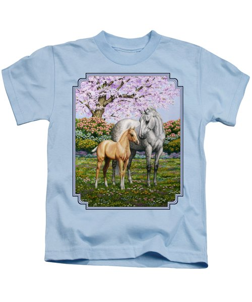 Mare And Foal Pillow Blue Kids T-Shirt