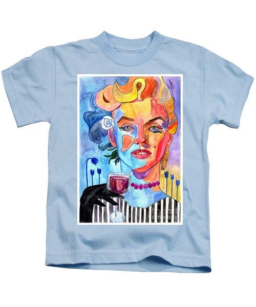 Marilyn Monroe Drinking Wine Kids T-Shirt