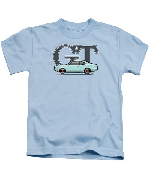 Mazda Savanna Gt Rx-3 Baby Blue Kids T-Shirt by Monkey Crisis On Mars