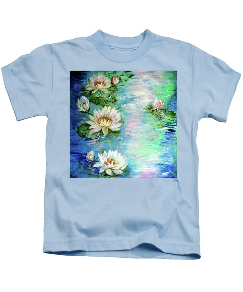 Misty Waters Waterlily Pond Kids T-Shirt