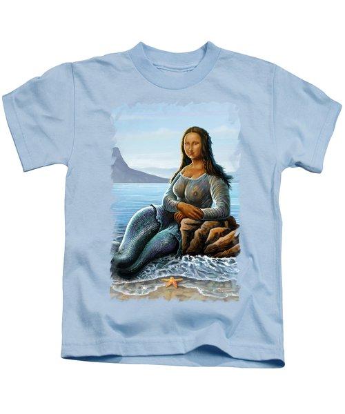 Monalisa Mermaid Kids T-Shirt by Anthony Mwangi