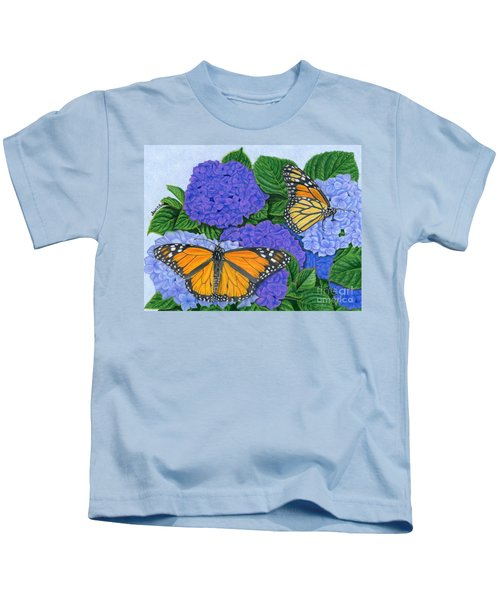 Monarch Butterflies And Hydrangeas Kids T-Shirt by Sarah Batalka
