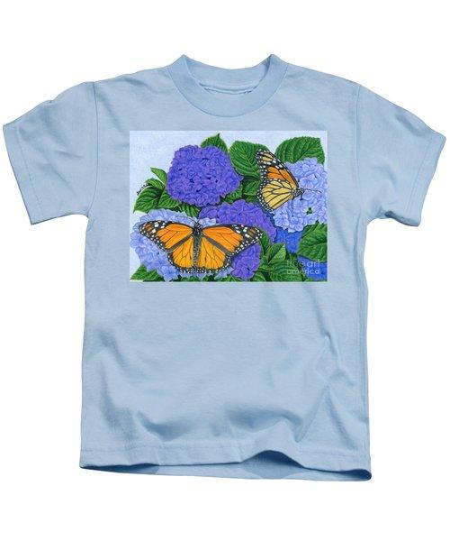 Monarch Butterflies And Hydrangeas Kids T-Shirt