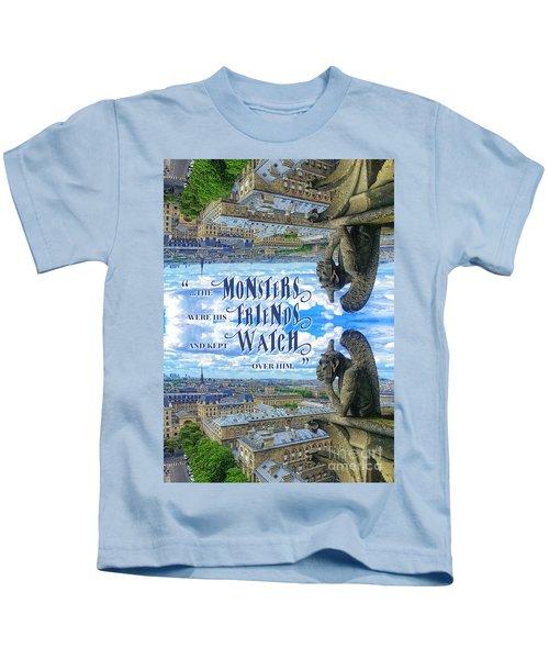 Monsters Were His Friends Notre-dame Paris Gargoyle Kids T-Shirt