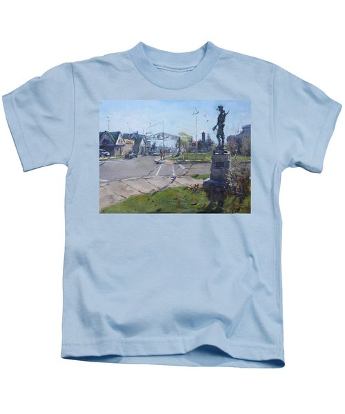 Monument At Pine Ave And Portage Rd Kids T-Shirt