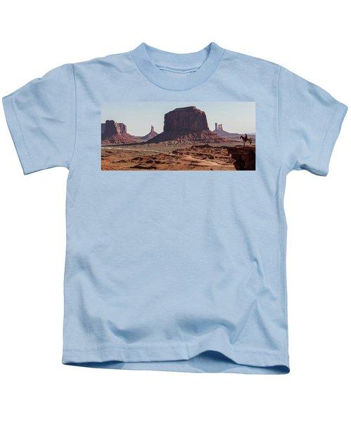 Monument Valley Man On Horse Sunrise  Kids T-Shirt