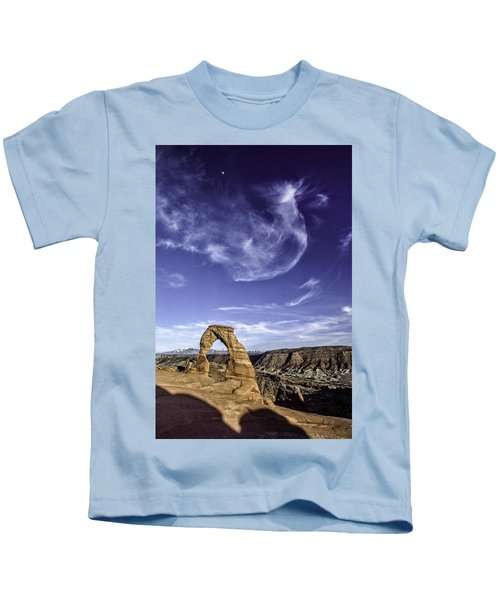 Moonset Delicate Arch Kids T-Shirt