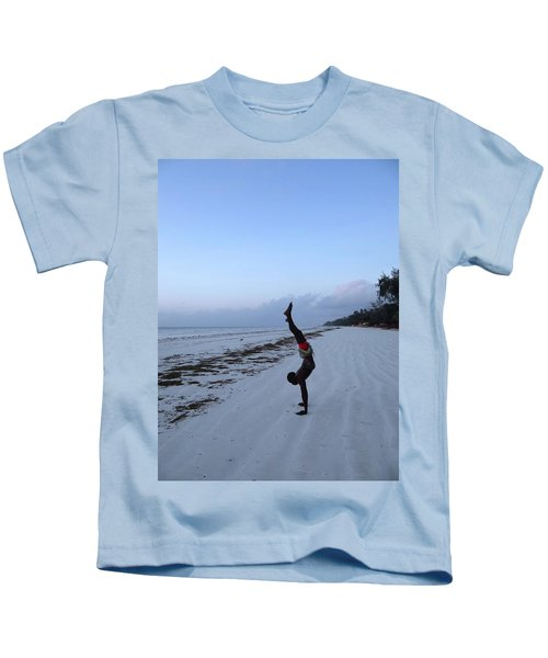 Morning Exercise On The Beach Kids T-Shirt