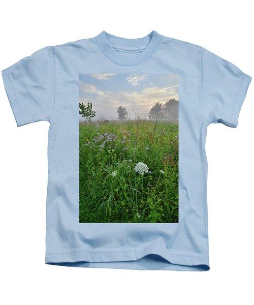 Morning Fog Over Glacial Park Prairie Kids T-Shirt