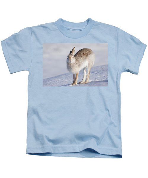 Mountain Hare In The Snow - Lepus Timidus  #2 Kids T-Shirt