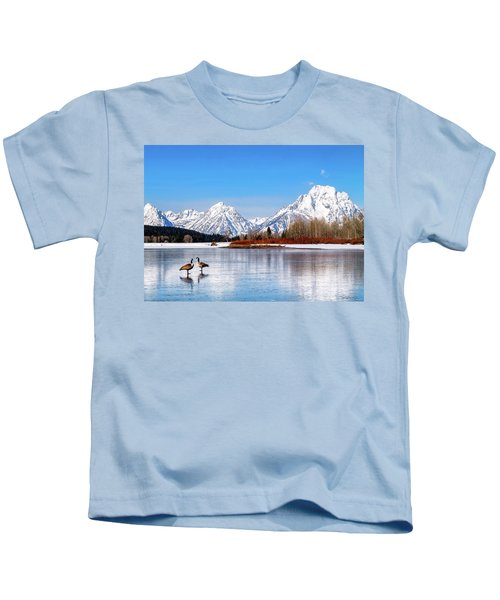 Mt Moran With Geese Kids T-Shirt