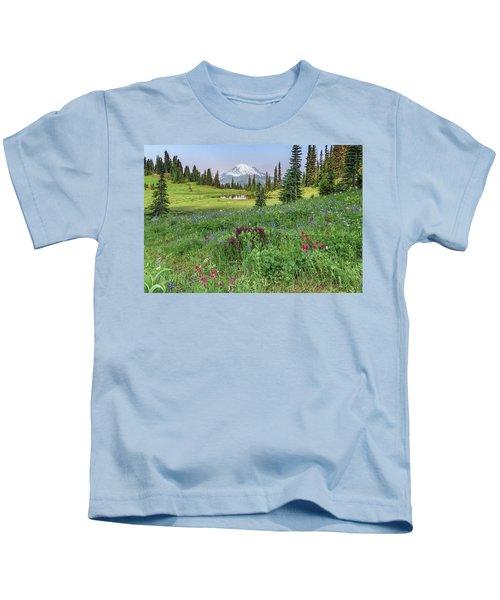 Mt Rainier Meadow Flowers Kids T-Shirt