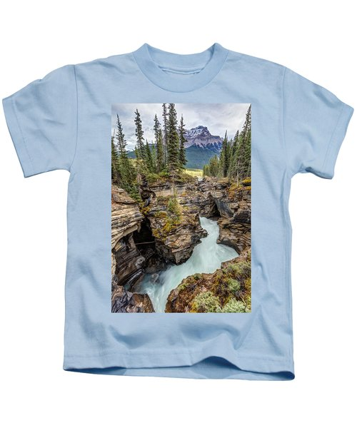 Natural Flow Of Athabasca Falls Kids T-Shirt