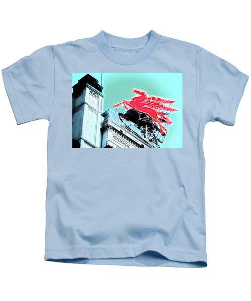 Neon Pegasus Atop Magnolia Building In Dallas Texas Kids T-Shirt