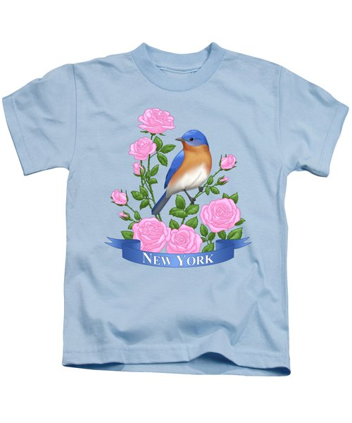 New York Bluebird And Pink Roses Kids T-Shirt