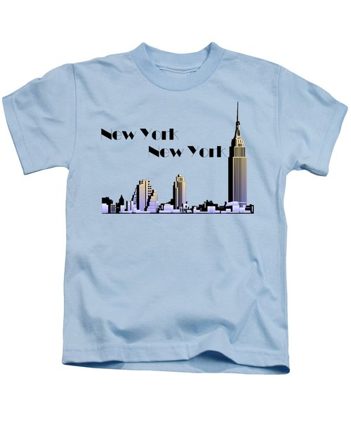 New York New York Skyline Retro 1930s Style Kids T-Shirt by Heidi De Leeuw
