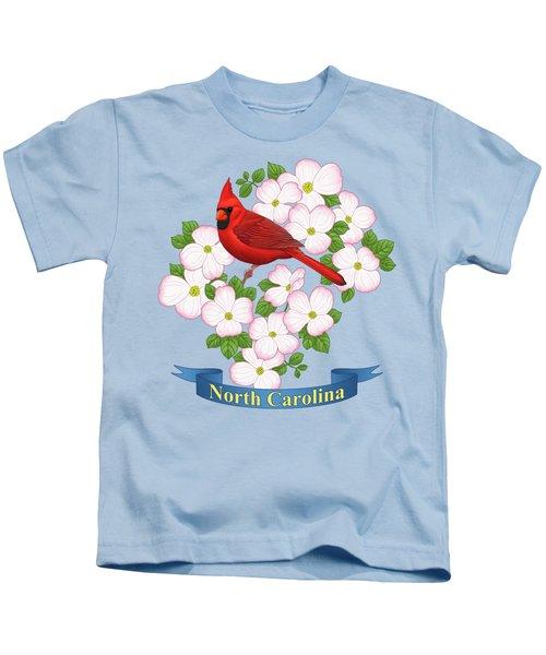 North Carolina State Bird And Flower Kids T-Shirt