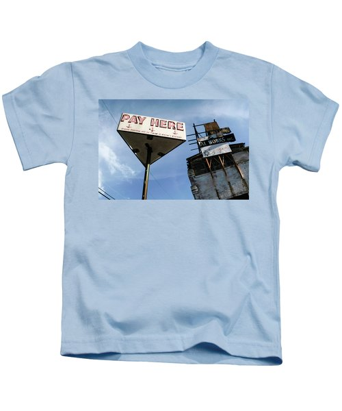 Old Pay Here Parking Sign Vintage Decay Kids T-Shirt