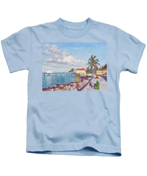 Old Yellow Gas Station By The Waterfront - Cooper's Town Kids T-Shirt