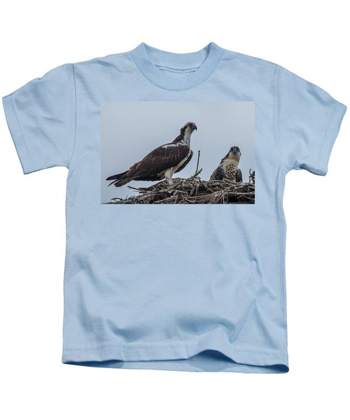 Osprey On A Nest Kids T-Shirt by Paul Freidlund