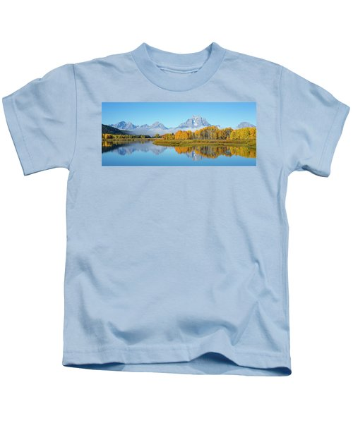 Oxbow Bend Pano In Autumn Kids T-Shirt