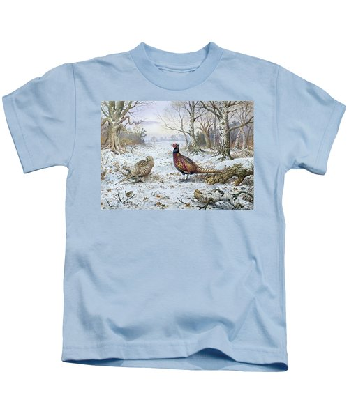 Pair Of Pheasants With A Wren Kids T-Shirt by Carl Donner