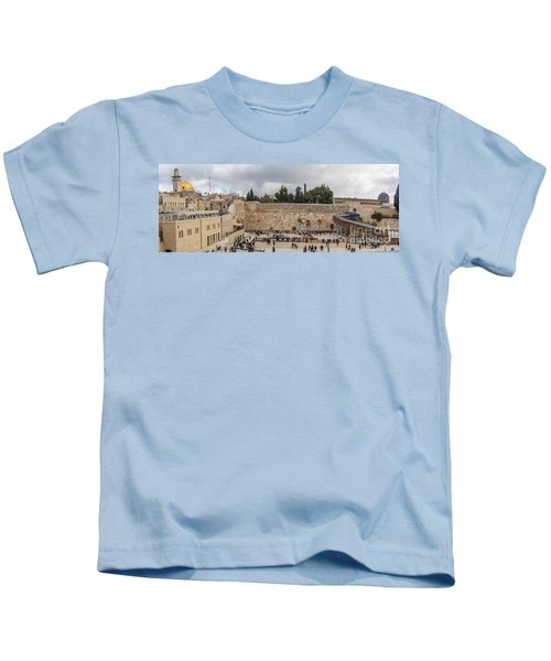 Panoramic View Of The Wailing Wall In The Old City Of Jerusalem Kids T-Shirt