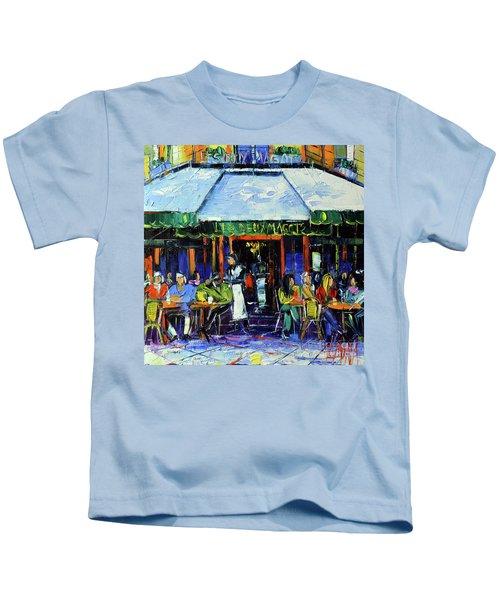 Paris Morning At Les Deux Magots - Modern Impressionism Oil Painting Mona Edulesco Kids T-Shirt