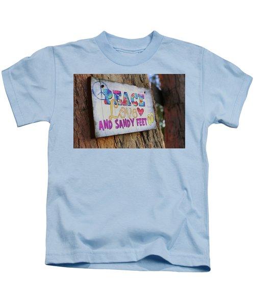 Peace Love And Sandy Feet Kids T-Shirt