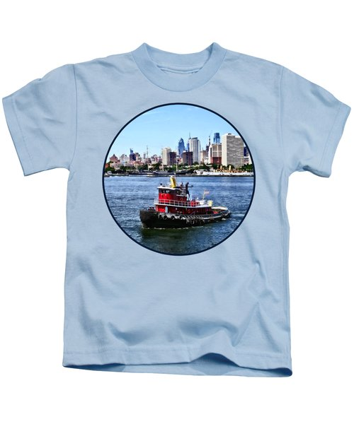 Philadelphia Pa - Tugboat By Philadelphia Skyline Kids T-Shirt by Susan Savad