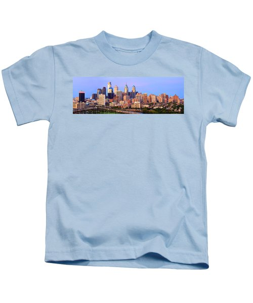Philadelphia Skyline At Dusk Sunset Pano Kids T-Shirt by Jon Holiday