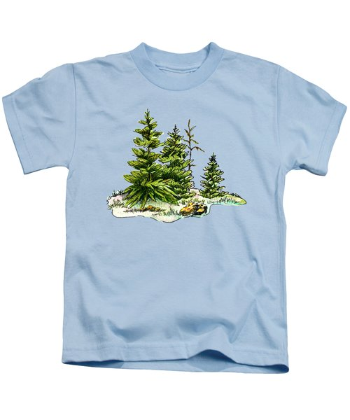 Pine Tree Watercolor Ink Image I         Kids T-Shirt