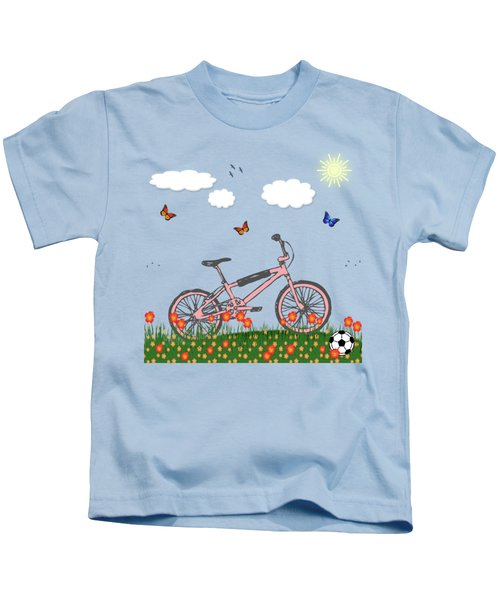 Pink Bicycle Kids T-Shirt by Gaspar Avila