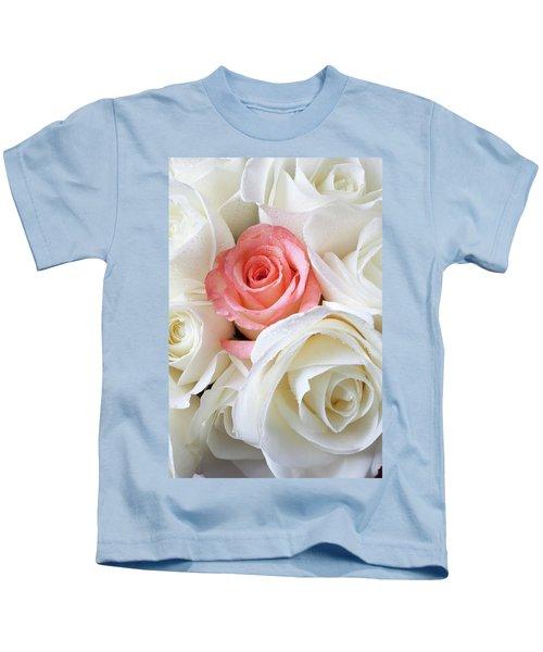 Pink Rose Among White Roses Kids T-Shirt