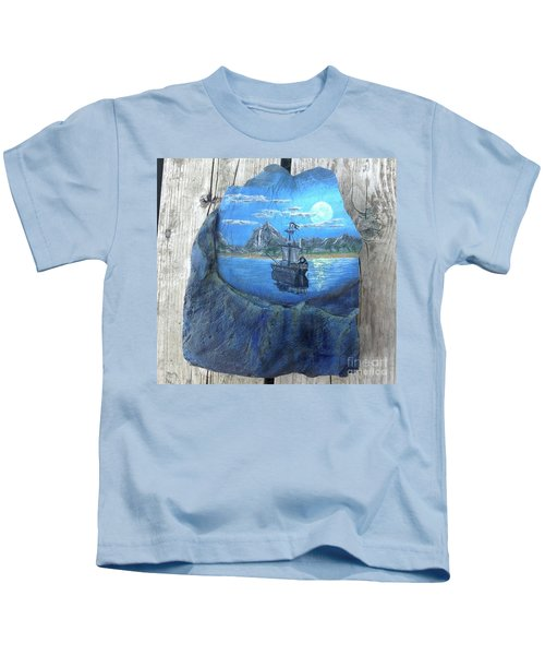 Pirate Ship Rock Painting Kids T-Shirt