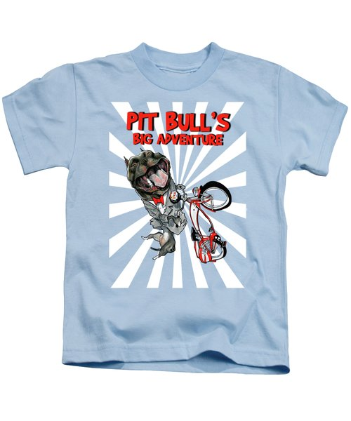Pit Bull's Big Adventure Caricature Kids T-Shirt