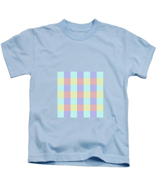 Plaid Blue Soft Yellow Rose Blush Lavender Cyan Tetradic Colour Blocks Kids T-Shirt