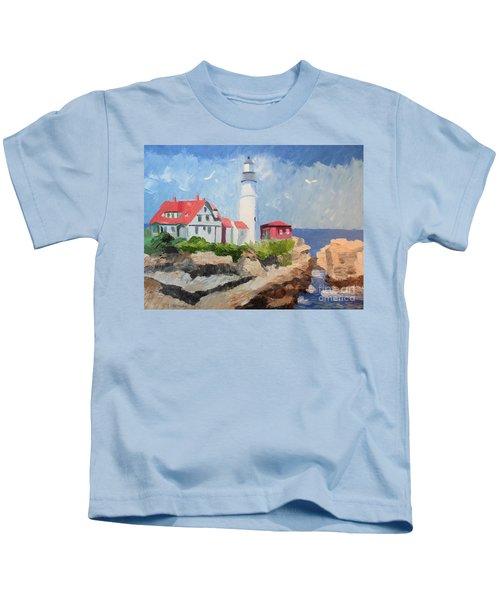 Portland Headlight By The Sea Kids T-Shirt