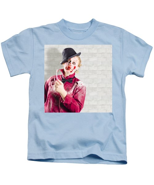 Possessed Girl With Bloody Toothbrush. Gum Disease Kids T-Shirt