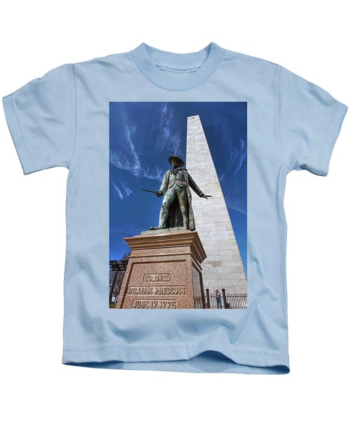 Prescott Statue On Bunker Hill Kids T-Shirt