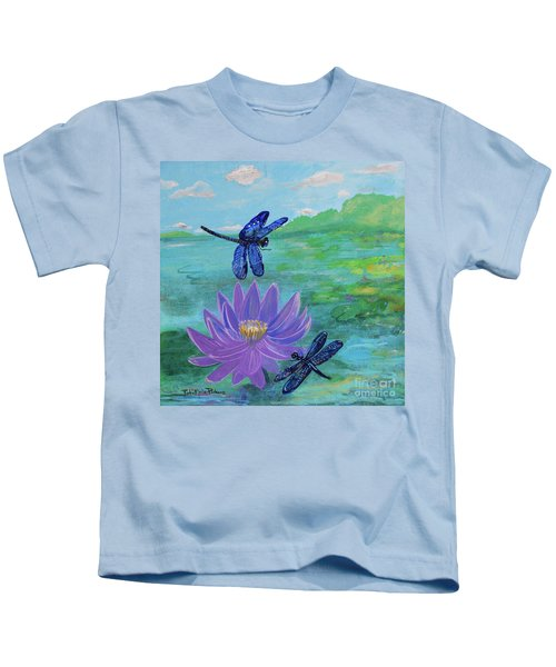 Purple Water Lily And Dragonflies Kids T-Shirt